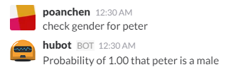 chat example for checking gender for peter