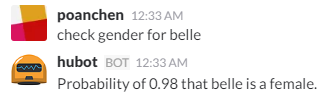 chat example for checking gender for belle