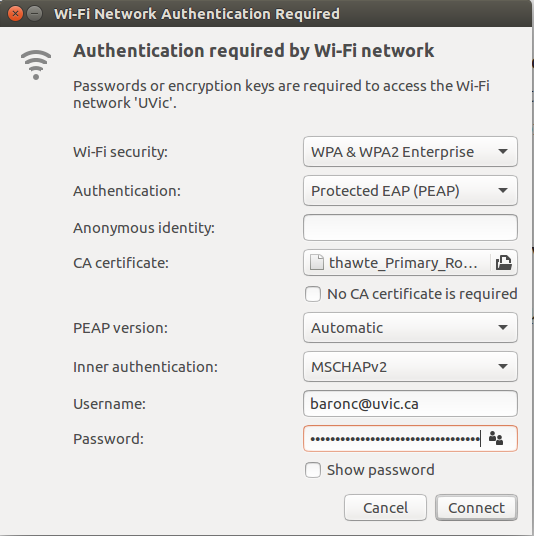 Set up to connect to uvic wifi